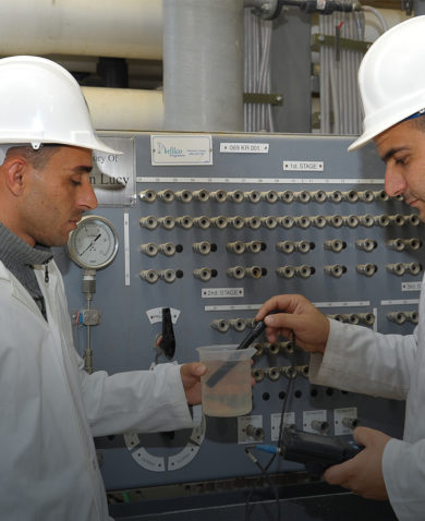 men in Jordan water testing facility