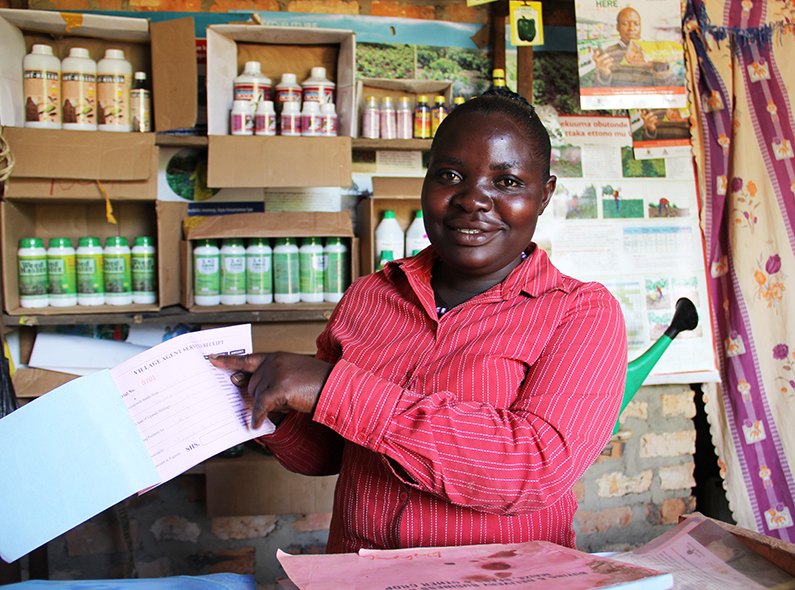 Justine Nayiga is a village agent who has opened an input supply shop in Mubende, Uganda.