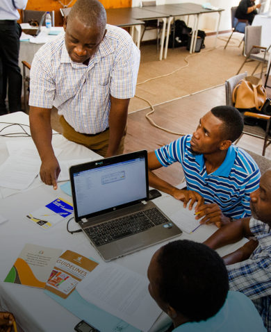 A group of people collaborating at a meeting