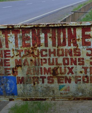 A sign warning of Ebola.
