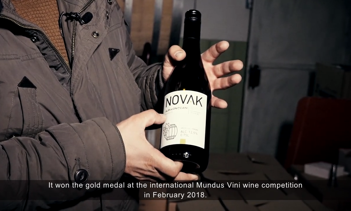 hands holding a bottle of Novak wine