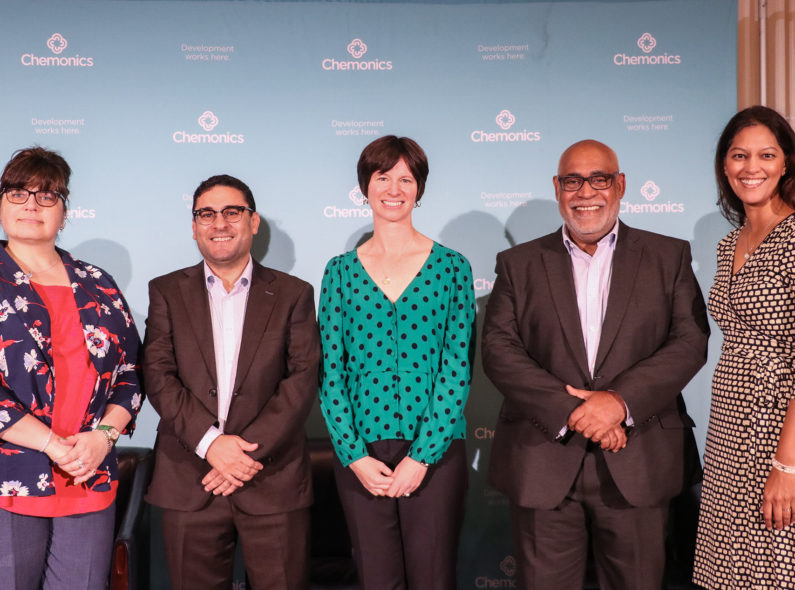 Wanda Jaskiewicz, Eddine Sarroukh, Deborah Kaliel, Charles Abani, and Tanvi Pandit-Rajani (from left to right)