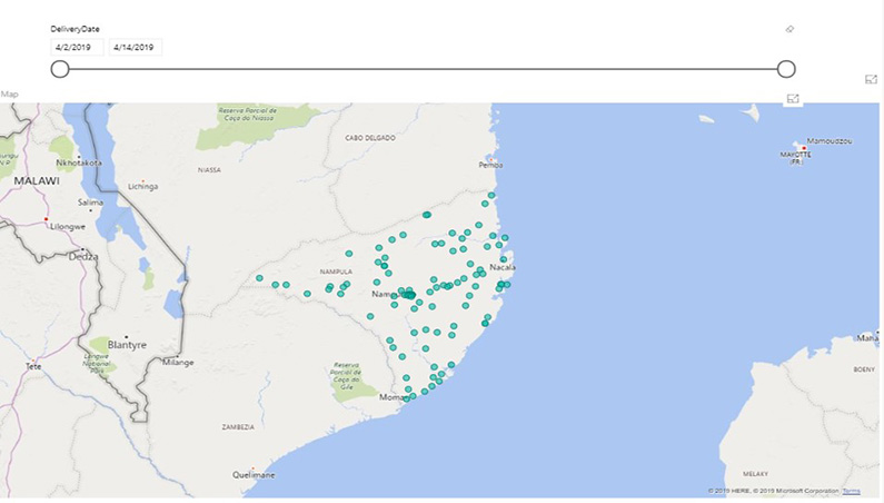 Live dashboard using GPS coordinates showing completed deliveries in Nampula province, Mozambique
