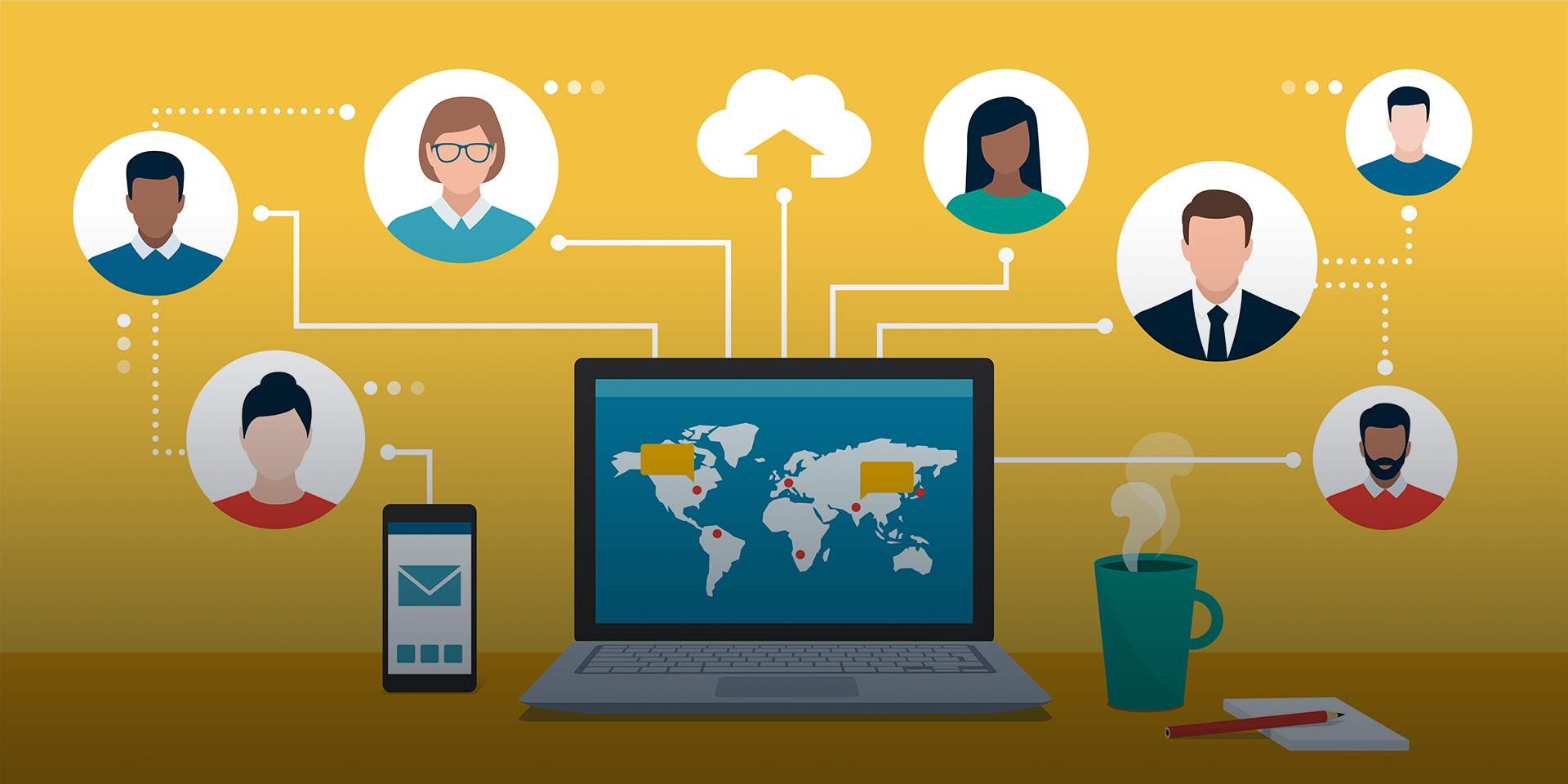 An infographic illustrating how connectivity on the internet can promote global collaboration.