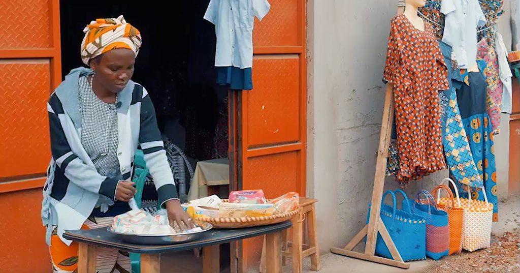 Woman sells goods