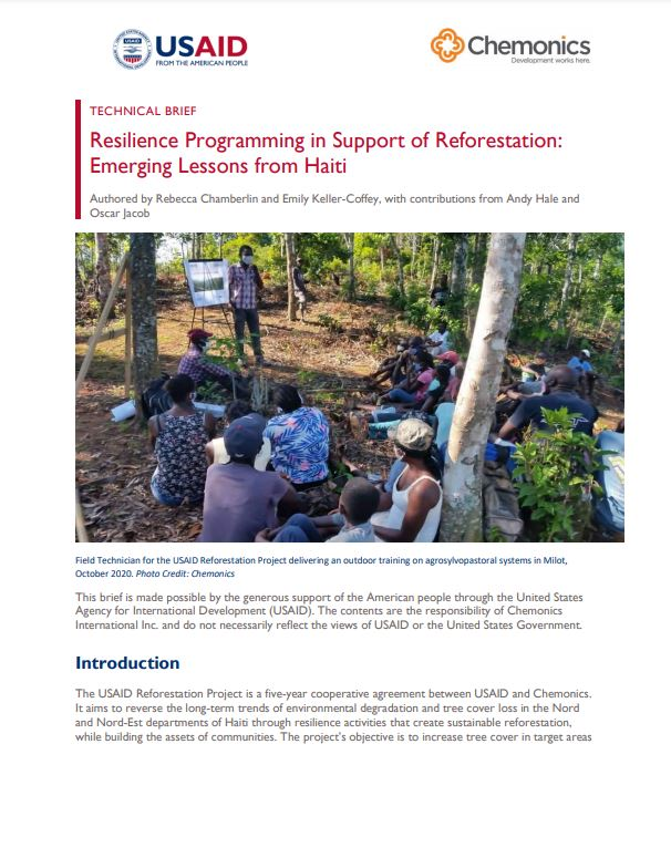 Resilience Programming in Support of Reforestation cover page thumbnail