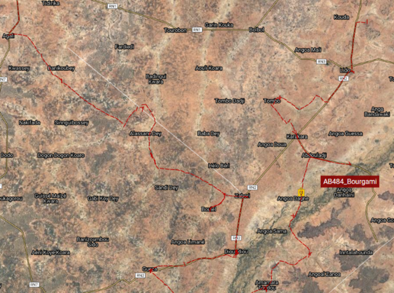 A map of the delivery route taken by a 3PL vehicle from May 16 to May 17 2021 heading to the health facility in the village of Bourgami, Dosso Region, Niger.