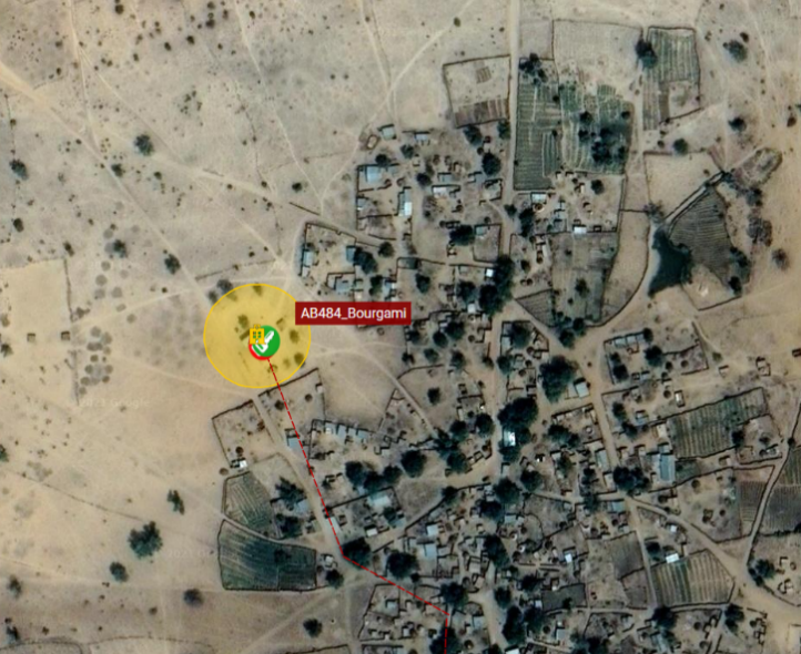 A satellite screenshot of a vehicle at the geofence barrier outside AB484_Bourgami facility.