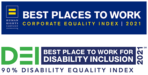 """""""Best Place to Work"""" banners from the Human Rights Coalition and the Disability Equality Index"""