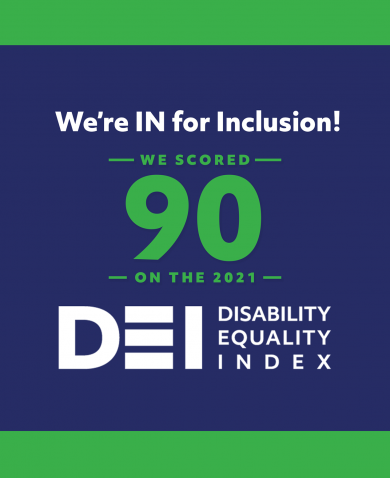 banner stating our score of 90 on the Disability Equality Index